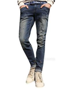 Aboki 男士深蓝色水洗牛仔小脚长裤 M码
