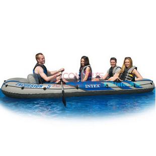 INTEX充气船68325五人钓鱼船加厚橡皮艇皮划艇送船桨打气泵366*168*43cm 标配+车载家用泵