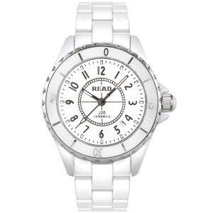 锐力(READ)手表 白陶表带石英女表白陶框数字面R3002L