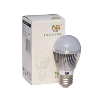 丽雨牌灯泡 E27超亮LED节能球泡灯 3W 5W 7W 9W 台灯也能用的LED灯 银色外壳暖白 3W