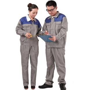 爱工作 工作服套装 新款 春秋 套装 长袖工作服套装 银灰拼蓝 M(170)