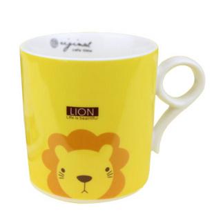 昭乐 九字型杯 无盖儿童卡通动物陶瓷杯子/时尚可爱水杯/家庭套装马克杯 小狮子