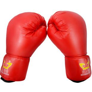 山人运动 加厚拳击手套 训练散打拳套 击打沙包沙袋拳套 红色