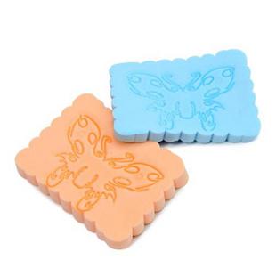 方形印花海藻洁面扑 卸妆洗脸扑 海绵粉扑 2个装 颜色随机发货
