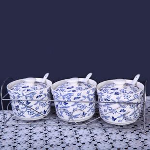 淘陶网泥之歌 景德镇精美骨瓷餐具 调味罐三头 青色蔓花