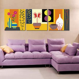 壹汇 装饰画客厅现代简约壁画 卧室床头挂画 沙发背景墙画数字油画 非成品 50X50三拼 绝色
