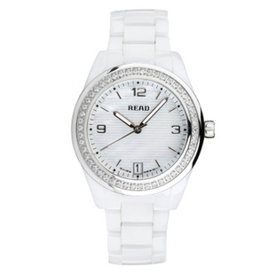 锐力(READ)手表 波西米亚系列白陶瓷石英女表白面钻框R2001L