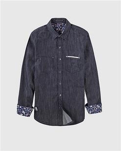 刺绣拼袋雅致印花牛仔衬衫