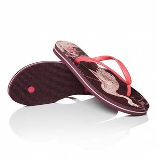 CHIN女款中国元素印花拖鞋