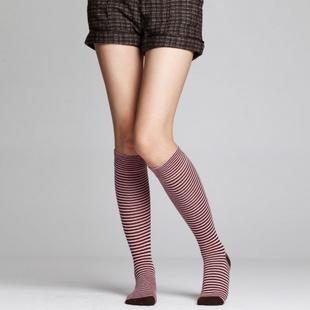 女条纹长筒袜