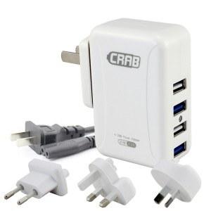 酷乐博(CRAB)KP03V 4口 多口USB充电器 手机 平板 苹果IPHONE6 IPAD三星充电头 5V 4.2A 21W 白色