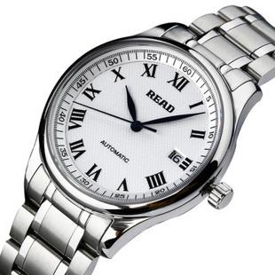 Read/锐德 男士手表 全自动机械表 男表钢带 R8003G白面罗马钢带常规