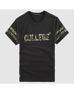 迷彩字母印花纯棉圆领T恤
