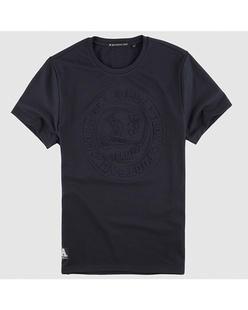 运动风浮雕压花弹力短袖T恤