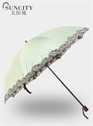 梦芭莎太阳城二折黑胶太阳伞小圆点手开遮阳伞公主伞