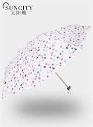 梦芭莎太阳城十字花迷你五折伞折叠清新遮阳太阳伞银胶晴雨伞