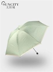 梦芭莎太阳城三折黑胶点点花边太阳伞外翻超细晴雨伞