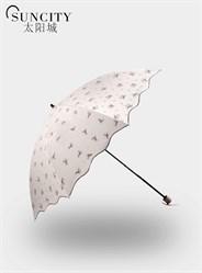 梦芭莎太阳城二折黑胶太阳伞芬芳玫瑰伞防紫外线晴雨伞