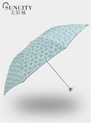 梦芭莎太阳城小雪花三折黑胶超轻遮阳伞晴雨伞防紫外线铅笔伞