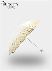 梦芭莎太阳城二折公主小碎花黑胶印花太阳伞防紫外线晴雨伞