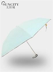 梦芭莎太阳城三折黑胶太阳伞条纹小清新折叠晴雨伞