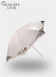 梦芭莎太阳城二折黑胶太阳伞小水玉缨绒伞防紫外线毛笔伞