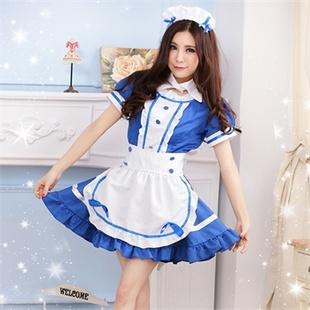情趣内衣 女佣 女仆游戏制服诱惑 真人拍性感套装 领结女佣蓝色