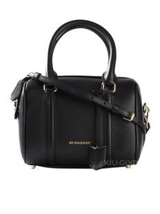 【2015新品】官网同款 Burberry 博柏利 保龄球系列 女士黑色logo牛皮提挎两用包(意大利直发)