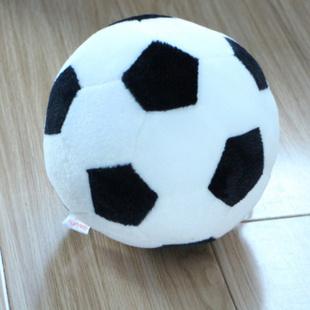 海利伟足球家居小毛绒玩具公仔 小朋友生日礼物 静音游戏 黑色 直径15cm