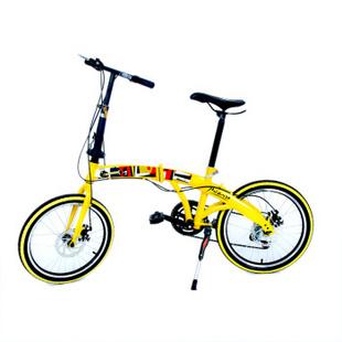 毕加索《三乐师》流线碟刹运动山地折叠车 黄色