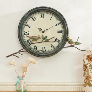 芮诗凯诗爵士山庄系列美式田园铁艺花鸟壁挂钟创意欧式装饰时钟表 小鸟挂钟