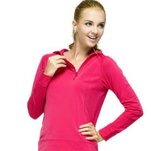 佐纳跑步服健身服女运动服装春季款连帽长袖专业跑步服 YC12202 樱桃红 XL