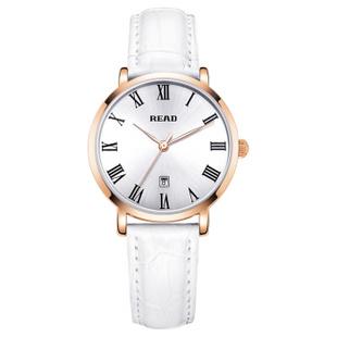 锐力(READ)手表 女士手表时尚女表石英表R2013 玫框白面白皮