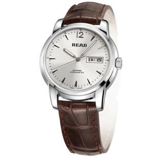 锐力(READ)手表 男士手表时尚经典男表商务简约石英表R6001G 白面棕皮带