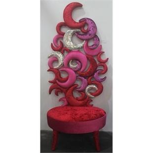 阿西娜时尚创意概念休闲沙发椅 娱乐会所形象靠椅 手工马赛克月亮装饰椅子