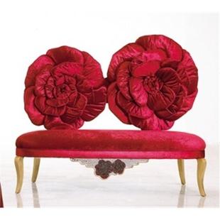 阿西娜新古典布艺沙发椅 玫瑰花概念贵妃椅 实木公主休闲沙发椅 娱乐会所形象沙发椅