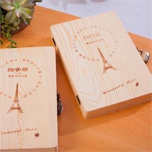 创意唯美 韩版复古精装木盒同学录/活页唯美清新毕业纪念册