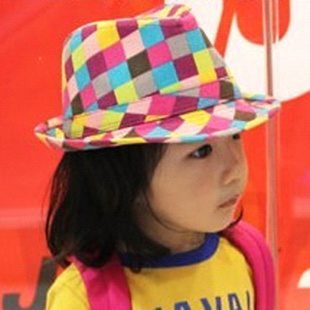 chocolate春夏秋冬四季帽子韩版儿童帽子彩色格遮阳帽爵士帽