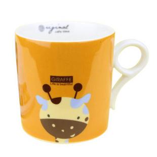昭乐 九字型杯 无盖儿童卡通动物陶瓷杯子/时尚可爱水杯/家庭套装马克杯 长颈鹿