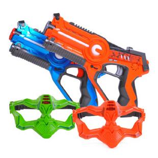 镭射儿童玩具枪真人CS游戏激光对战枪声光感应男孩玩具枪套装 双枪亲子对战版