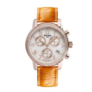 锐力(READ)手表 达芬奇系列石英女表R7003L 玫瑰金钻橙带