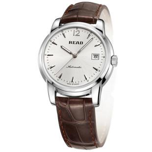 锐力(READ)手表 机械表男表R8001G 白面棕皮带