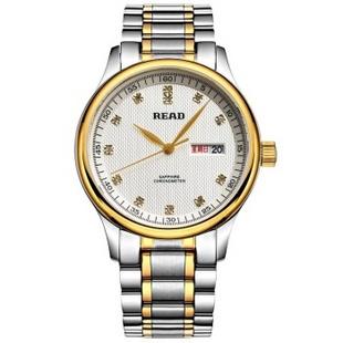 锐力(READ)手表 经典系列双日历石英男表介金钻钢R6003G