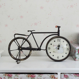 红兔子 铁艺仿古自行车钟表 座钟
