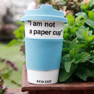 特澳博 新骨瓷吸管盖杯包邮 创意咖啡杯马克杯带防烫杯套 咖啡色+绿叶