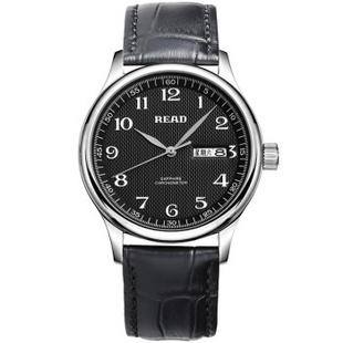 锐力(READ)手表 经典系列双日历石英男表黑数皮R6003G