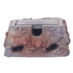 吉祥坊 荷花炭雕名片盒送长辈礼物家居摆件礼品TD097-1瓦当色