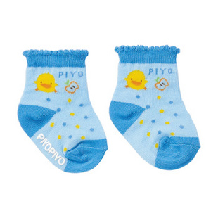 【黄色小鸭官方旗舰店】苹果短袜 婴儿袜 880238 浅蓝 13-15CM