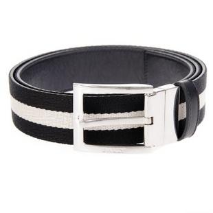 BALLY 巴利 男士黑白条配皮银色针扣皮带腰带 TONNI-35.TL/600 95cm