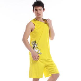 双星篮球运动套装男款新款V领比赛男子篮球服套装 56215 黄色 175/2XL